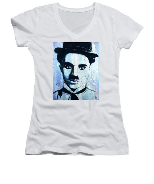 Charlie Chaplin Little Tramp Portrait Women's V-Neck (Athletic Fit)