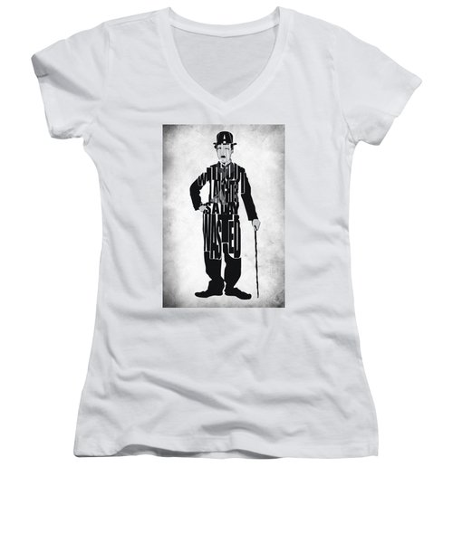 Charlie Chaplin Typography Poster Women's V-Neck