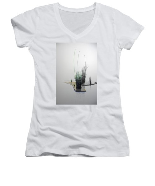 Women's V-Neck T-Shirt (Junior Cut) featuring the painting Chasm by A  Robert Malcom