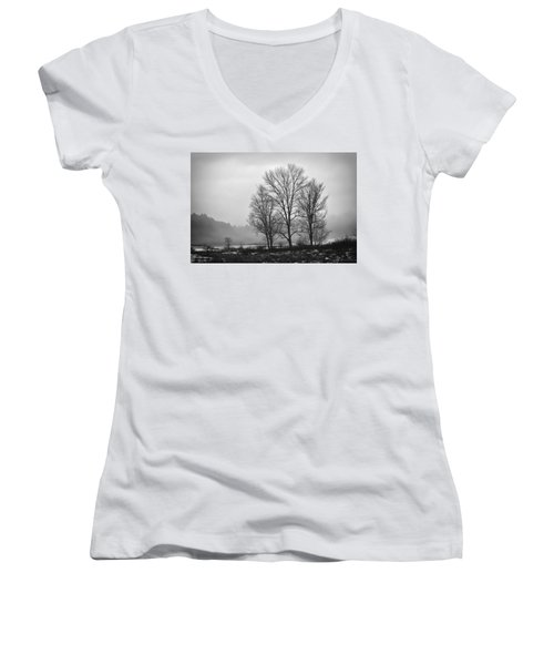 Cheese House Road Trees Women's V-Neck (Athletic Fit)