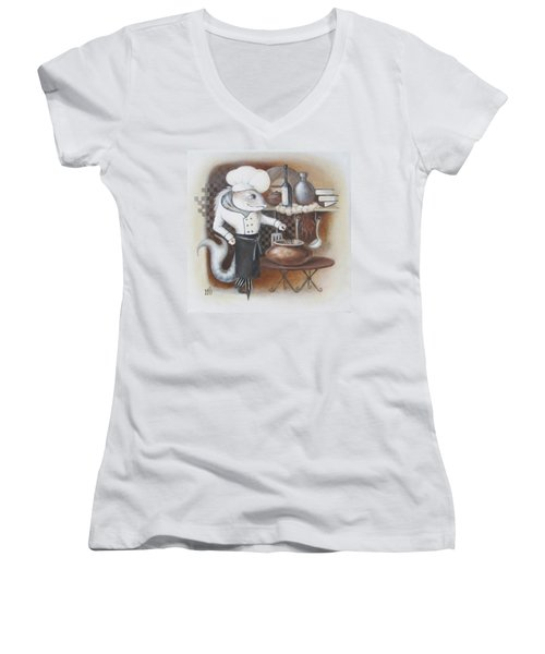 Women's V-Neck T-Shirt (Junior Cut) featuring the painting Chef by Marina Gnetetsky