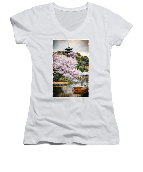 Cherry Blossom 2014 Women's V-Neck T-Shirt