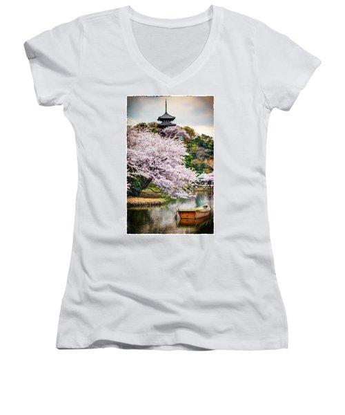 Cherry Blossom 2014 Women's V-Neck T-Shirt (Junior Cut) by John Swartz