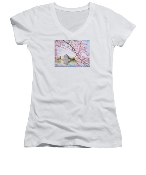 Jefferson Memorial Cherry Blossoms Women's V-Neck (Athletic Fit)