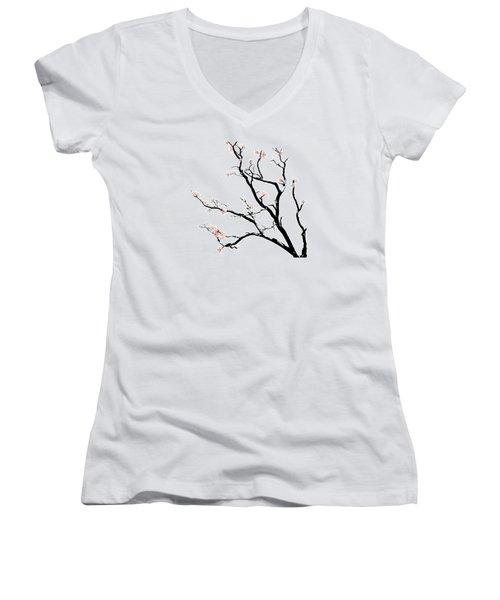 Cherry Blossoms Tree Women's V-Neck T-Shirt (Junior Cut) by Gina Dsgn