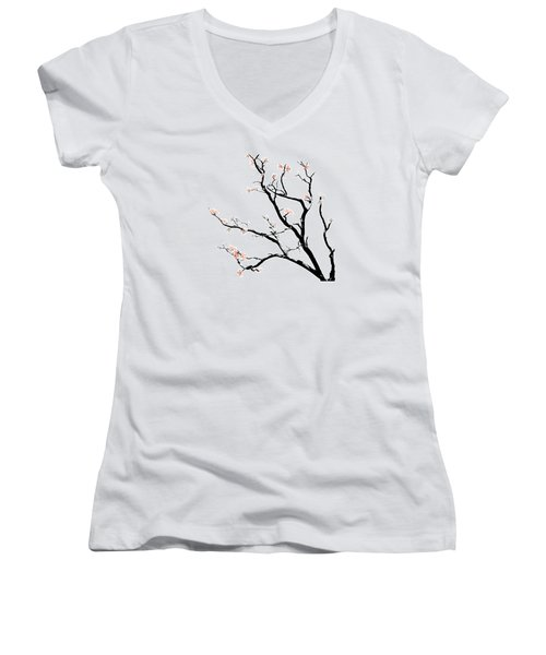 Cherry Blossoms Tree Women's V-Neck T-Shirt