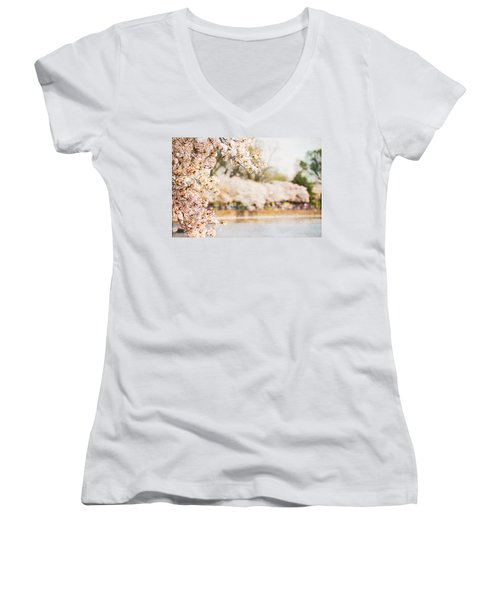 Women's V-Neck T-Shirt (Junior Cut) featuring the photograph Cherry Blossoms In Washington Dc by Vizual Studio