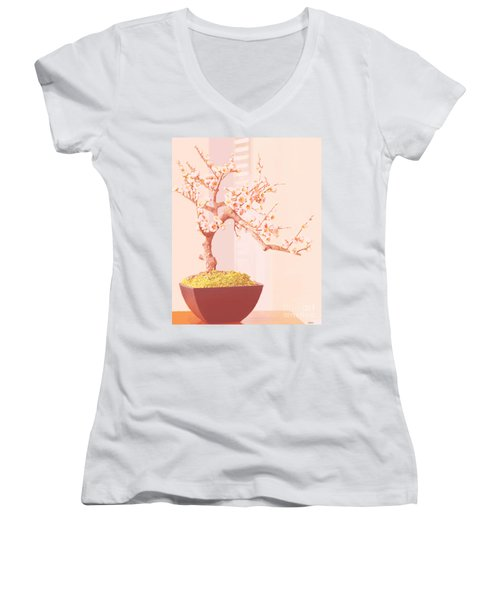 Women's V-Neck T-Shirt (Junior Cut) featuring the painting Cherry Bonsai Tree by Marian Cates