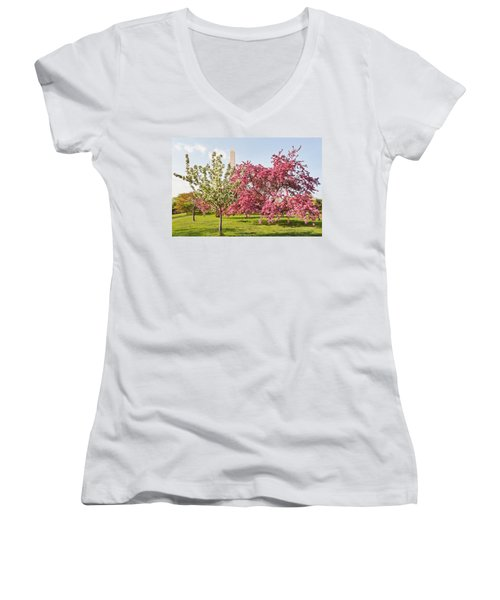Women's V-Neck T-Shirt (Junior Cut) featuring the photograph Cherry Trees And Washington Monument Three by Mitchell R Grosky