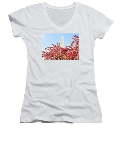 Women's V-Neck T-Shirt (Junior Cut) featuring the photograph Cherry Trees And Washington Monument Two by Mitchell R Grosky