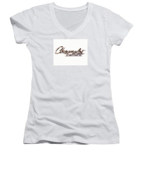 Chevrolet Camaro Emblem Women's V-Neck T-Shirt (Junior Cut) by Jerry Fornarotto