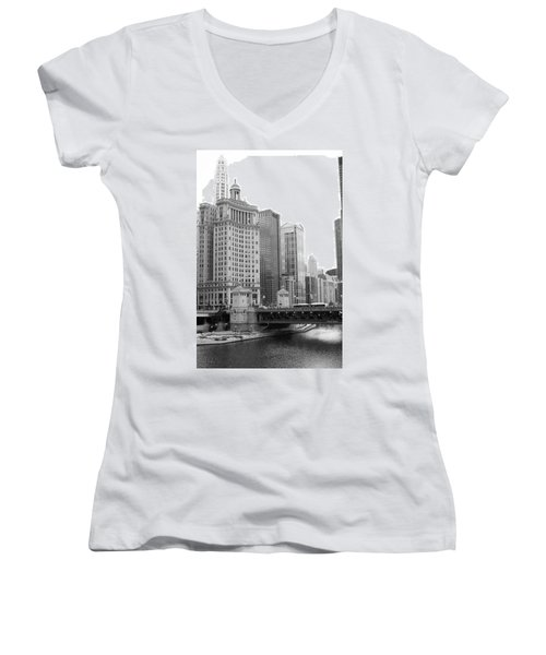 Women's V-Neck T-Shirt (Junior Cut) featuring the photograph Chicago Downtown 2 by Bruce Bley