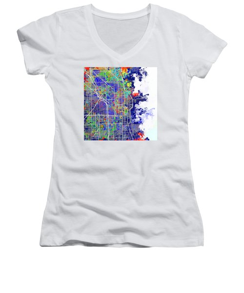 Chicago Map Color Splash Women's V-Neck T-Shirt