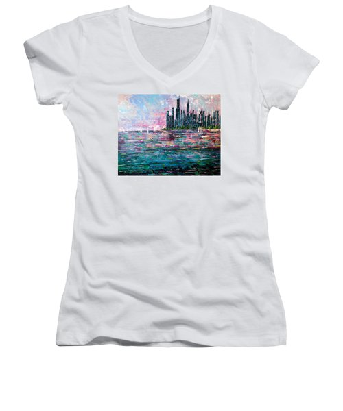 Chicago Morning - Sold Women's V-Neck T-Shirt (Junior Cut) by George Riney