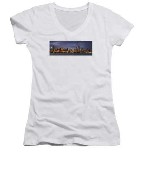 Chicago Skyline At Night Color Panoramic Women's V-Neck T-Shirt