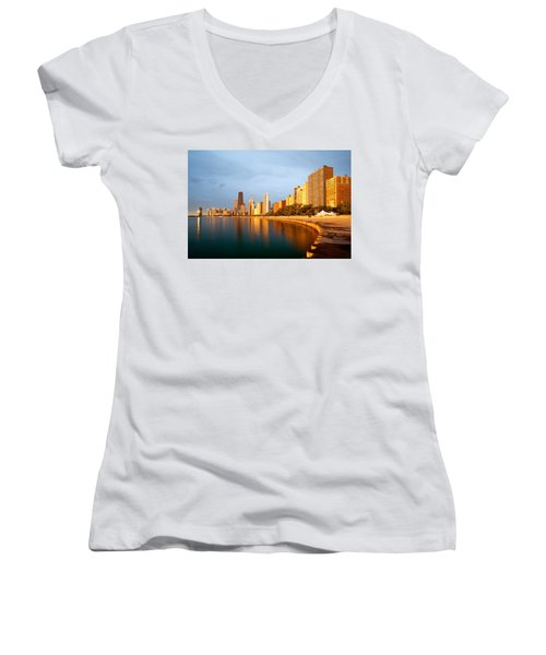 Chicago Skyline Women's V-Neck T-Shirt (Junior Cut) by Sebastian Musial
