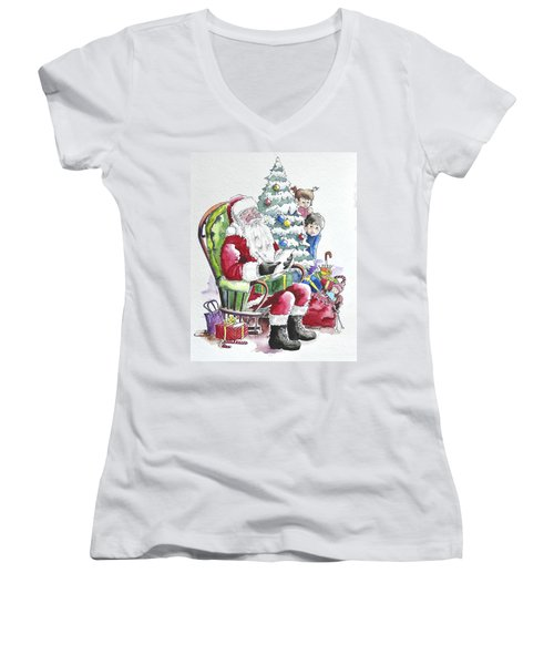 Childre Sneaking Around Santa Women's V-Neck (Athletic Fit)