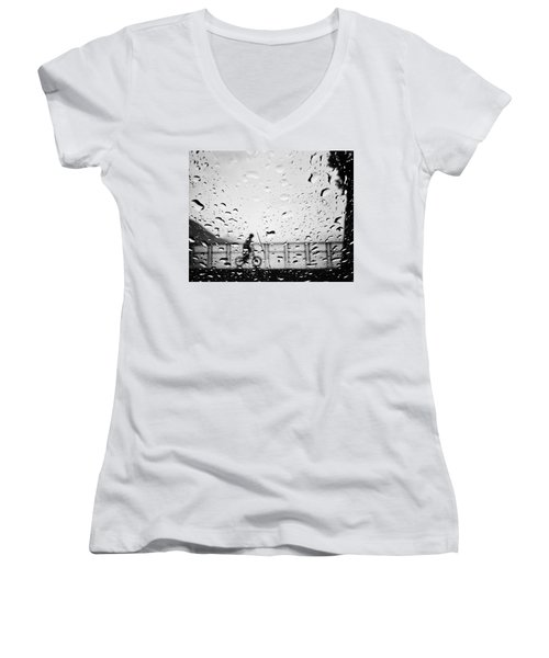 Children In Rain Women's V-Neck T-Shirt