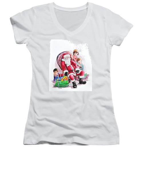 Children Patiently Waiting Up For Santa. Women's V-Neck (Athletic Fit)