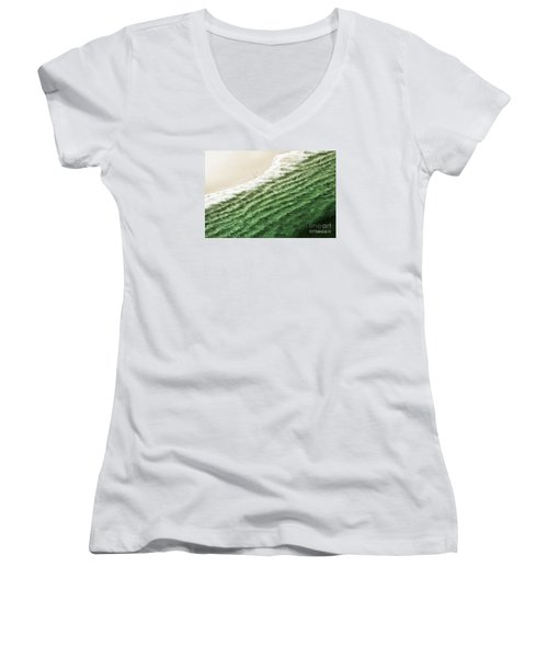 Women's V-Neck T-Shirt (Junior Cut) featuring the photograph China Beach Wave Ocean Theme Pillow Print Tote by Artist and Photographer Laura Wrede