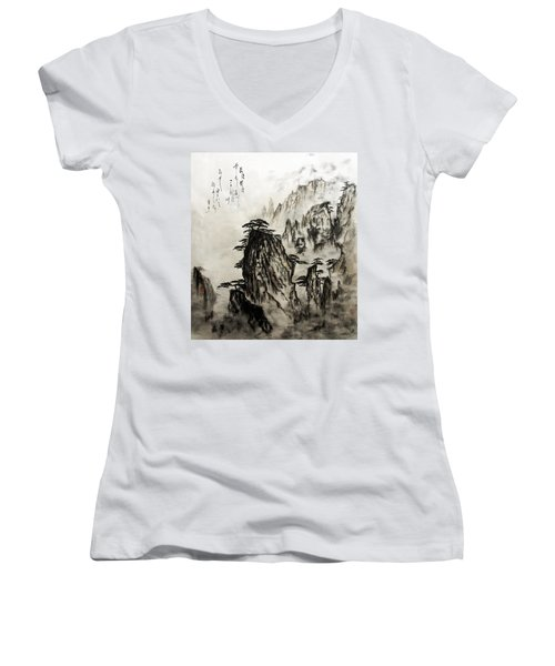 Women's V-Neck T-Shirt (Junior Cut) featuring the painting Chinese Mountains With Poem In Ink Brush Calligraphy Of Love Poem by Peter v Quenter