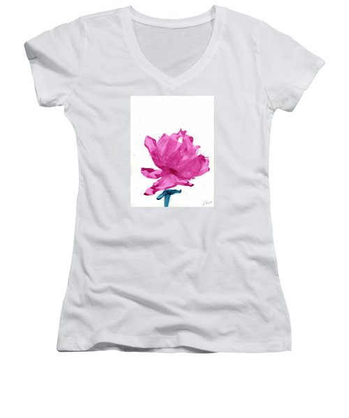 Women's V-Neck T-Shirt (Junior Cut) featuring the painting Chinese Rose Hibiscus by Frank Bright