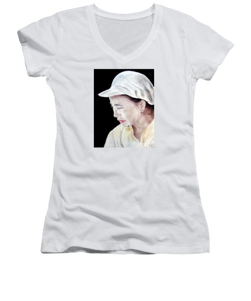 Women's V-Neck T-Shirt (Junior Cut) featuring the drawing Chinese Woman With A Facial Mole by Jim Fitzpatrick