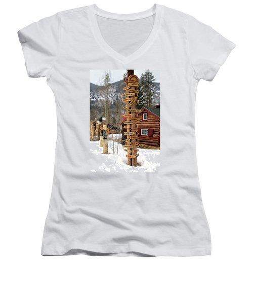 Choose Your Direction Women's V-Neck T-Shirt (Junior Cut) by Fiona Kennard