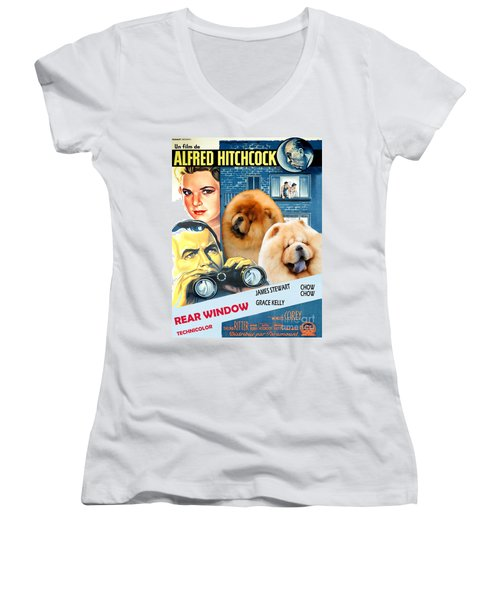 Chow Chow Art Canvas Print - Rear Window Movie Poster Women's V-Neck (Athletic Fit)