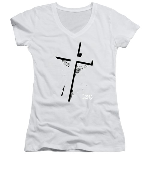 Christ On The Cross Women's V-Neck T-Shirt (Junior Cut) by Justin Moore