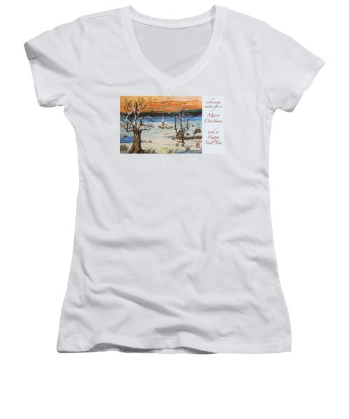Christmas Card Painting Women's V-Neck T-Shirt (Junior Cut) by Peter v Quenter