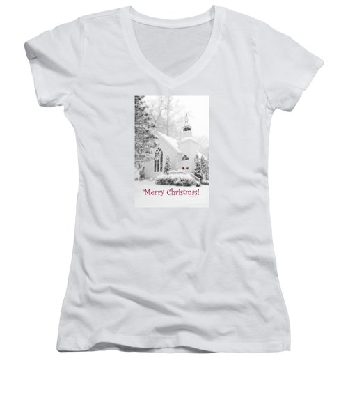 Historic Church Oella Maryland - Christmas Card Women's V-Neck T-Shirt (Junior Cut) by Vizual Studio
