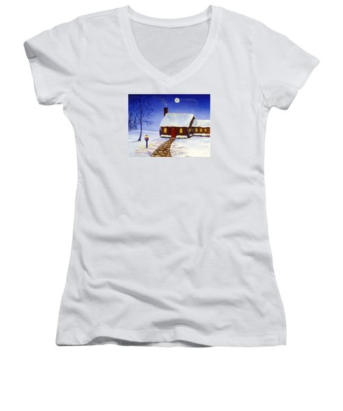 Women's V-Neck T-Shirt (Junior Cut) featuring the painting Christmas Eve by Lee Piper