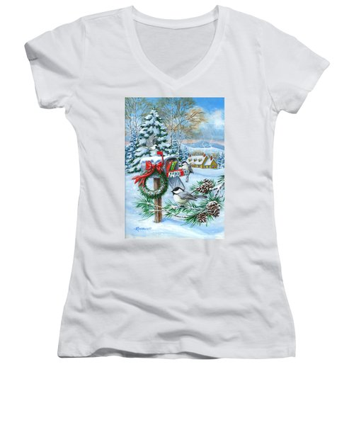 Christmas Mail Women's V-Neck (Athletic Fit)