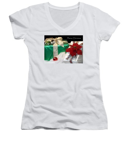 Christmas Presents Women's V-Neck T-Shirt (Junior Cut) by Living Color Photography Lorraine Lynch