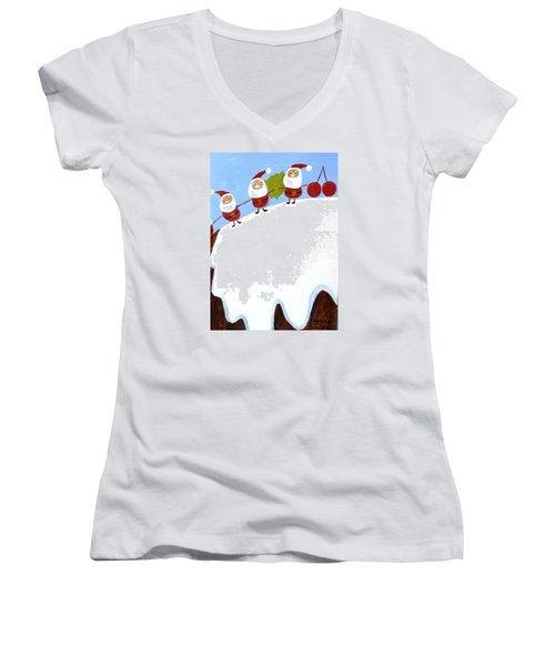 Christmas Pudding And Santas Women's V-Neck T-Shirt (Junior Cut) by Magdalena Frohnsdorff