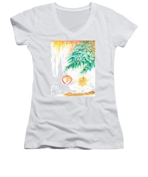 Women's V-Neck T-Shirt (Junior Cut) featuring the painting Christmas Star by Teresa White