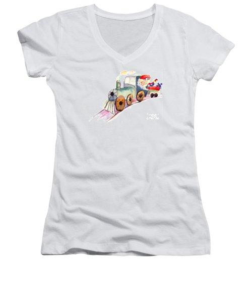 Christmas Train With Santa Claus Women's V-Neck T-Shirt