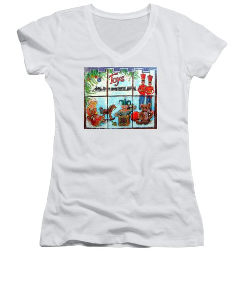Christmas Window Women's V-Neck (Athletic Fit)