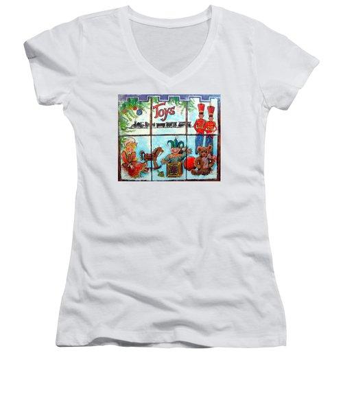 Christmas Window Women's V-Neck T-Shirt