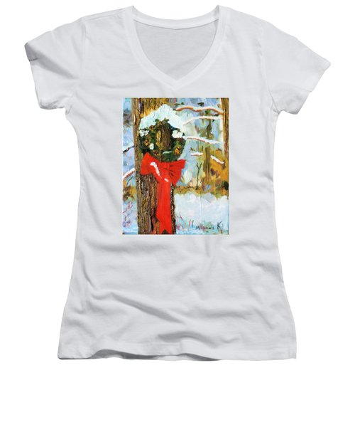 Christmas Wreath Women's V-Neck T-Shirt (Junior Cut) by Michael Daniels