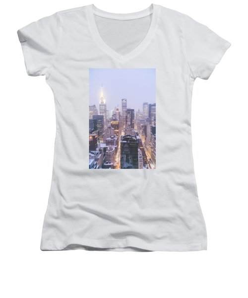 Chrysler Building And Skyscrapers Covered In Snow - New York City Women's V-Neck T-Shirt