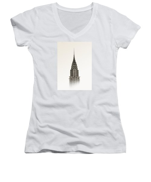 Chrysler Building - Nyc Women's V-Neck T-Shirt (Junior Cut) by Nicklas Gustafsson
