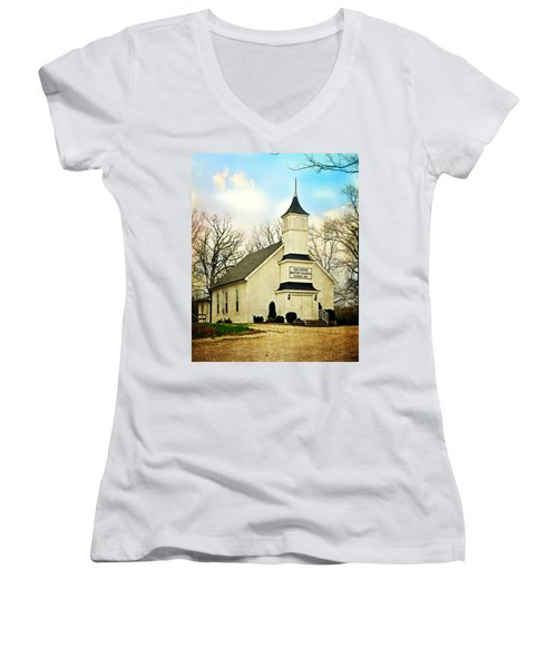Women's V-Neck T-Shirt (Junior Cut) featuring the photograph Church 12 by Marty Koch