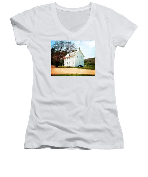 Women's V-Neck T-Shirt (Junior Cut) featuring the photograph Church At Boxley by Marty Koch