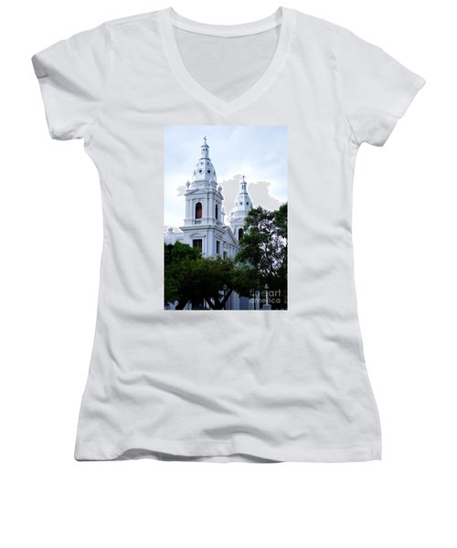 Church In Puerto Rico Women's V-Neck T-Shirt (Junior Cut) by DejaVu Designs