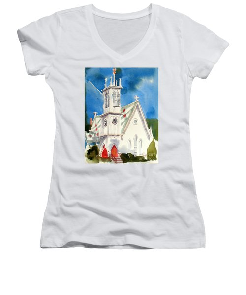 Church With Jet Contrail Women's V-Neck (Athletic Fit)