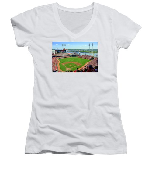 Cincinnati Reds Stadium Women's V-Neck T-Shirt (Junior Cut) by Kathy Barney