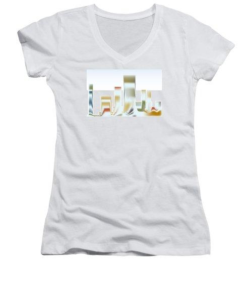 Women's V-Neck T-Shirt (Junior Cut) featuring the digital art City Mesa by Kevin McLaughlin