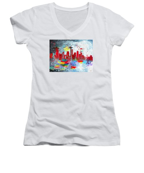 City Of Seattle Grunge Women's V-Neck T-Shirt (Junior Cut)